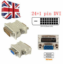 Dvi-d Dvi Macho 24 +1 Pin A Vga Hembra Svga 15 Pines Monitor Video Adaptador Convertidor