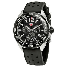 Tag Heuer Formula 1 Chronograph Black Dial Black Leather Mens Watch