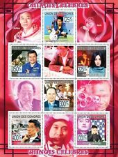Celebrities of China Tennis Space Chess Music m/s Comores 2009 Mi.2231-6 CM9217a