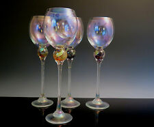 SET OF 4 TALL BRIONI STUDIO ART GLASS WINE GLASSES GOBLETS