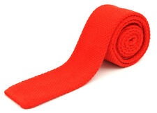 "New SANTOSTEFANO Italy 100% Wool Red Skinny Short 2"" Square End Neck Tie $215!"