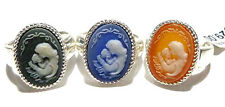 OLD STORE STOCK STERLING SILVER MOTHER DAUGHTER CHILD JASPERWARE CAMEO OVAL RING