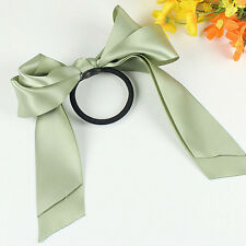 Elastic Girl Hair Ties Ring Scrunchie Ponytail Holder Bow-Knot Ribbon Light Gree