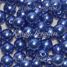10mm Blue Acrylic Round Pearl Spacer Beads for Bubblegum Necklace Jewelry Craft