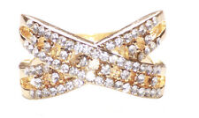 Luxurious- Heavy Diamante Embellished Cross & Golden Metal Hand Ring.(Zx126)