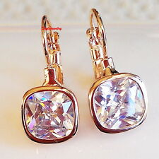 Rose Gold Fill Clear Swarovski Crystal Leverback Square Drop Bridal Earring IE97
