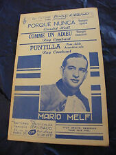 Partition Porqué Nunca Comme un adieu Puntilla Mario Melfi 1953 Music Sheet