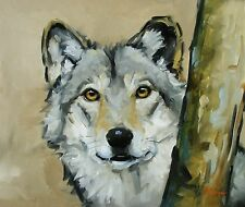 Original Oil painting - wildlife art - portrait of a wolf - by j payne