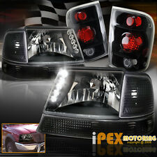 1998-2000 Ford Ranger [COMPLETE 6PC] LED Headlights + Signals + Tail Light Black