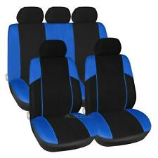 Universal Car Truck Seat Covers Headrest Body Kit Blue Black Full 8 Piece Set