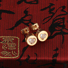 Elegant Gold Plated Inlay Crystal Heart Design Small Stud Earrings Women Gift