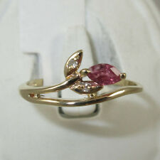 10K Yellow Gold Ring With 1=Ruby and 2=.02ct Diamonds