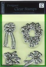 DOVECRAFT DESIGNER CLEAR CLING STAMPS - CHRISTMAS - HOLLY WREATHS & BOWS