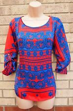 ZARA BLUE RED SILKY FEEL FLORAL BAROQUE BOHEMIAN BLOUSE TUNIC T SHIRT TOP CAMI S
