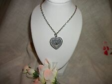"Virgin Mary Miraculous Medal Heart Pendant w Our Lord's Prayer Necklace * 18"" *"