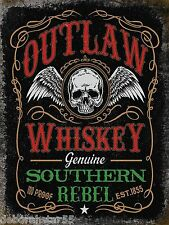 Outlaw Wiskey Genuine Southern Rebel Vintage Weathered Metal Tin Sign 20x15 New
