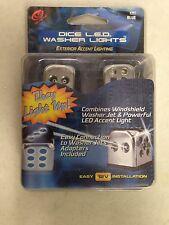 Universal Windshield Washer BLUE DICE LED Lights 12V Exterior Car Lighting