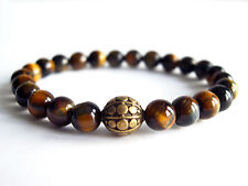 Handcrafted Semi Precious Stone Bracelet w/ Tigers Eye Beads & Brass Melon Charm