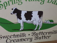 MILK & Buttermilk & CREAM -Spring Valley Dairy -OLD FARM SIGN Dated'91-Shows Cow