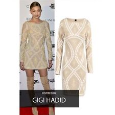Gigi Hadid Celeb Boutique Inspired Nude Gold White Bodycon Midi Dress Size 14