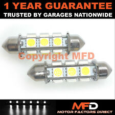 2X WHITE CANBUS NUMBER PLATE INTERIOR 12 SUPER BRIGHT SMD LED BULBS 44MM 20WX2