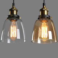 New Glass Shade Ceiling Chandelier Fitting Vintage Retro Pendant Lamp Light