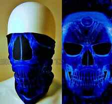 LARGE BLUE SKULL TUBE NECK GAITER WIND DUST BUGS SCARF BALACLAVA HELMET LINER  L