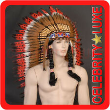 New 81cm Native Indian Chief Black Red Feather Headdress Fancy Dress Costume Men