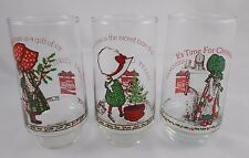Hollie Hobby Glass Set of 3 Coca Cola AGC Vintage Christmas #2