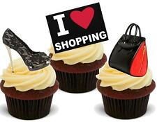 Novelty I LOVE SHOPPING Black Shoes Handbag 12 STAND UP Cake Toppers birthday