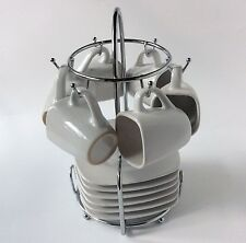 Classic White Espresso Coffee Cup Saucer 12 Pc Set Chrome Carrier Service For 6