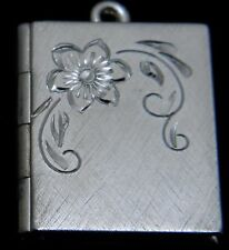 """New Sterling silver book locket with engraved flower on 18"""" chain"""
