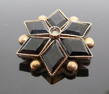 Antique Victorian Era Mourning Brooch / Pin - Black Star Shape