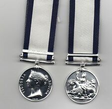 THE NAVAL GENERAL SERVICE MEDAL 1793-1840 WITH CLASP TRAFALGAR - SUPERB REPLICA