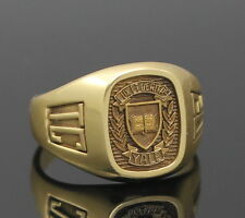 RARE ARTCARVED 2002 YALE UNIVERSITY SOLID 18K YELLOW GOLD CLASS RING SIZE 11.75