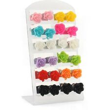 Rose 12Pairs Stud Earrings Lots Resin Flower Pad