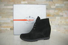 PRADA Size 37,5 Ankle Boots boots Shoes Lace up black black new