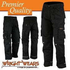 Men Work Cargo Trouser Black Pro-11 Heavy Duty Multi Pockets W:30 - L:31