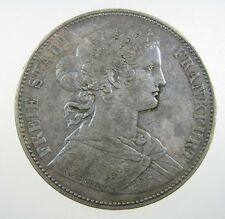 GERMANY FRANKFURT 1 TALER 1865 SILVER NATURAL GRAY TONE GERMAN CROWN MONEY COIN