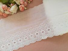 White cotton broderie anglaise lace trim sewing eyelet lace scalloped lace