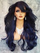 "28"" WAVY HEAT FRIENDLY WIG CLR SOMBRE DARK BLUE GORGEOUS SEXY LONG THICK USA 145"