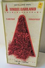 Vintage Red Christmas  TREE Tinsel Garland  W/Box 8 YARDS METALLIZED