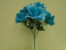 "3 Bushes BLUE TURQUOISE Open Rose 6 Artificial Silk Flowers 13"" Bouquet 590TQ"