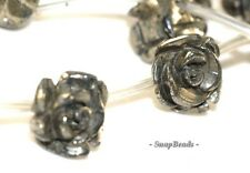 """8MM PALAZZO IRON PYRITE GEMSTONE CARVED ROSE FLOWER FLORA 8MM LOOSE BEADS 15.5"""""""