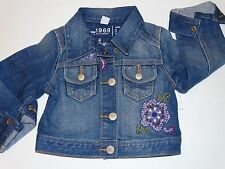 NWT BABY GAP COVENT GARDEN LINE EMBROIDERED JEAN JACKET DENIM CROPPED 4T 4 GIRLS