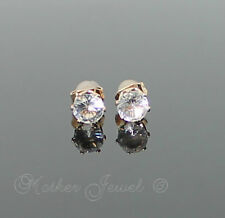 5MM SIMULATED DIAMOND 18K ROSE GOLD PLATED WOMENS GIRLS MENS BOYS STUD EARRINGS
