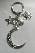 A Handmade Silver Tone Large Moon Sun Star Planet Key Chain Handbag, Bag Charm