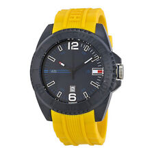 New Tommy Hilfiger Black Steel Yellow Rubber Date Men Watch 50mm 1791043 $105