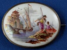 Antique Meissen Porcelain Harbor Scene Pin / Brooch Porzellan Brosche Merchant