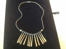 Vintage Brass Black Bead  choker Bohemian Tribal Paddle Bold Necklace Collar